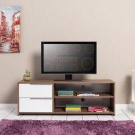 Flat Line Quadro Çekmeceli TV Sehpası - Noce/Lake Beyaz