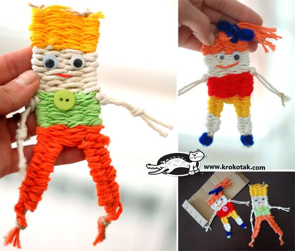 Check out these cute dolls made from weavings and with only four warp strands. This seems like a logical next step after basic weaving. I think they would make cute bookmarks or charms for a backpack. *Requires translation for English.☀CQ #crochet #crafts #DIY Thanks so much for sharing! ¯\_(ツ)_/¯