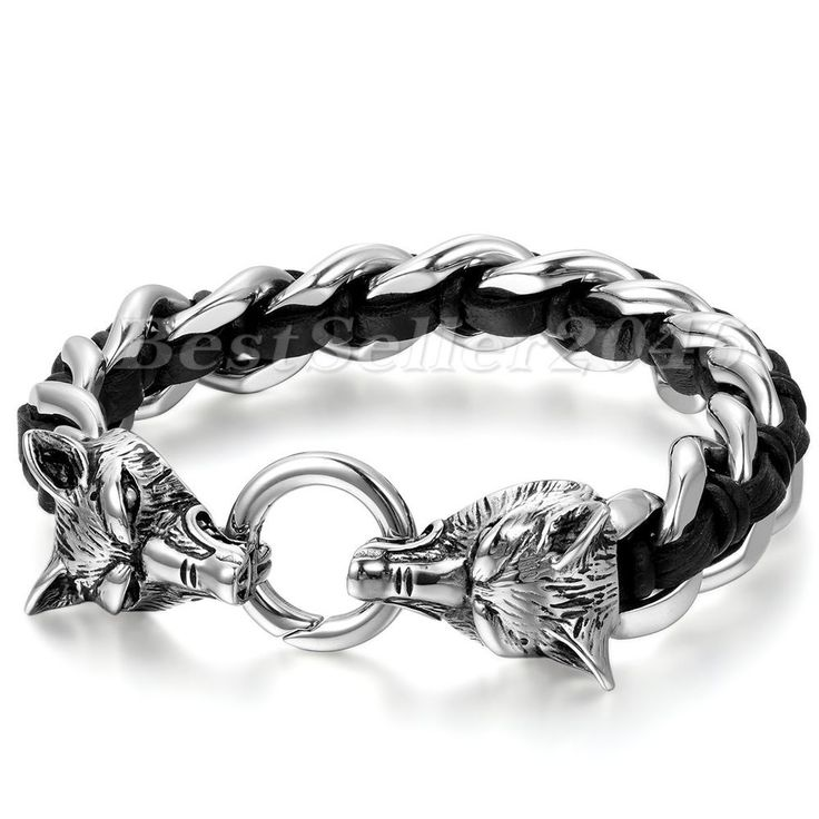 """Cool Men Bracelet Stainless Steel Lion Head Black Genuine Leather Wristband 8.7"""" #Unbranded #Wristband"""