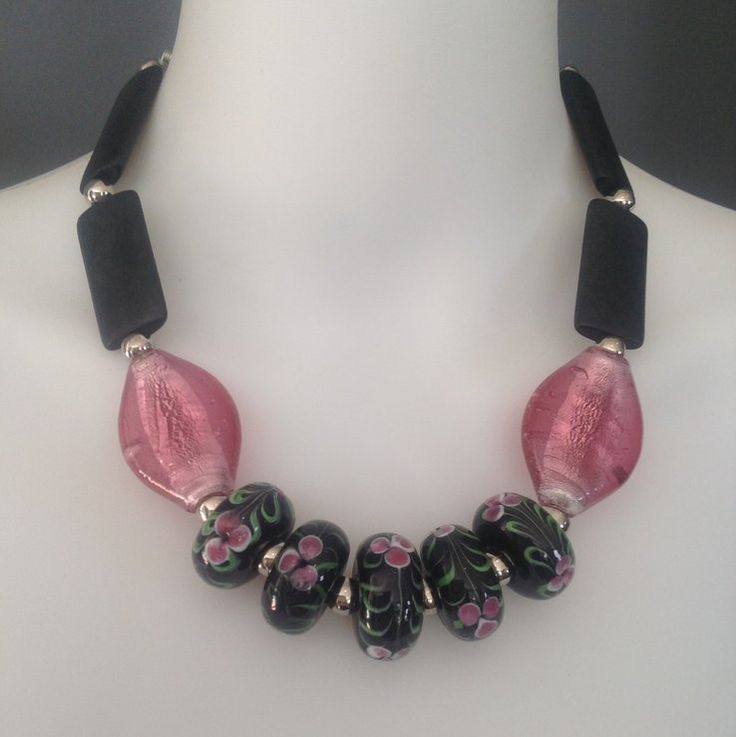 Rose pink and black statement necklace - glass, wood by Afrigal Designs