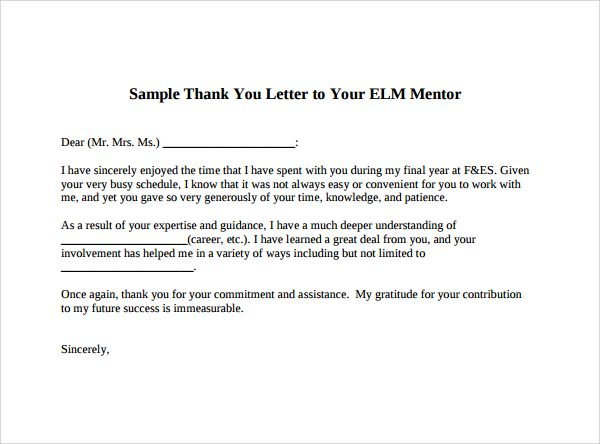 Sample Thank You Letter Mentor Download Free Documents Pdf
