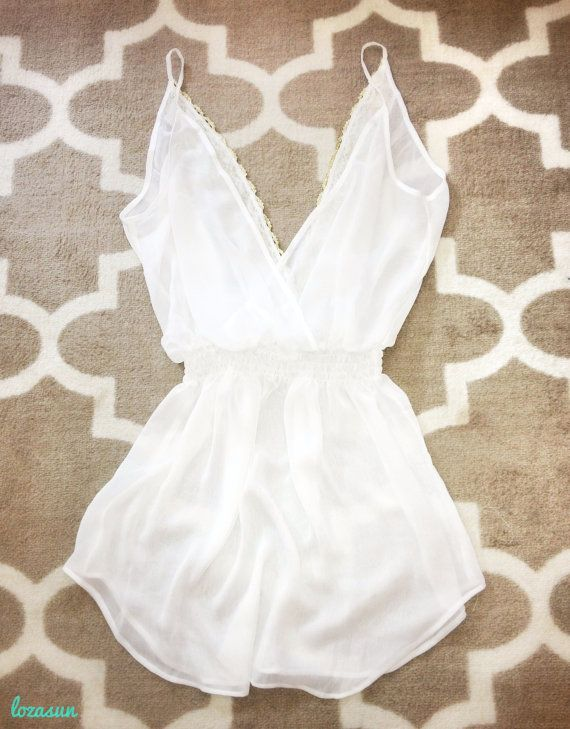 V-neck Gold Trim (Back) Spaghetti Strap Swimsuit Cover Up || One-Size-Fits-Most