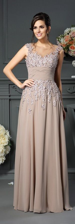 Beaded lace top chiffon mother of the bride dress in floor length. Chiffon dress is nice for summer occasions. Not like this color? Pick your own color and size by our custom-made service.