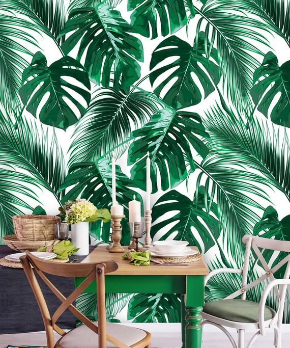 Removable Wallpaper Peel And Stick Palm Leaves Wallpaper Etsy Palm Leaf Wallpaper Green Leaf Wallpaper Leaf Wallpaper