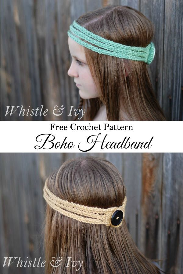 Free Crochet Pattern - stretchy boho headband (add beads)
