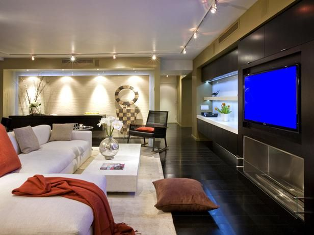 Contemporary Living Rooms from Brian Patrick Flynn : Designers' Portfolio 6437 : Home & Garden TelevisionEntertainment Area, Home Theater, Basements Room, Games Room, Tv Room, Formas Design, Media Rooms, Contemporary Living Rooms, Modern Home