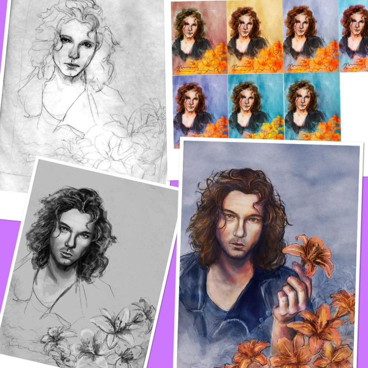 This shows the steps taken by Tia Ray for her portrait of Michael. From the initial line drawing, to various colour studies, the work in progress and the finished article.