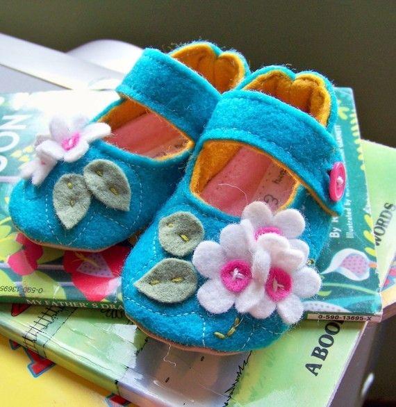 Baby booties shoes GIRL ecofriendly wool felt teal by ivoryandmoss, $32.00