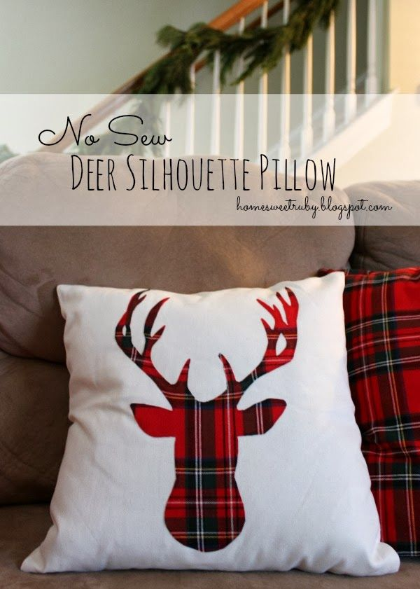 Oh Deer... No Sew Christmas Pillow. Home Sweet Ruby.