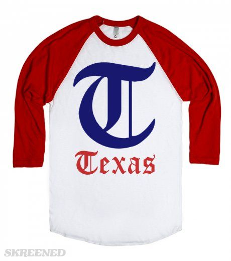 Texas baseball detroit style old english t logo t shirt for Texas baseball t shirt