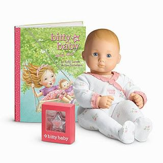 FINALLY! An American Girl whose hair you don't HAVE to fix! http://www.insideoutmotherhood.com/2013/10/giveaway-american-girl-bitty-baby-doll.html