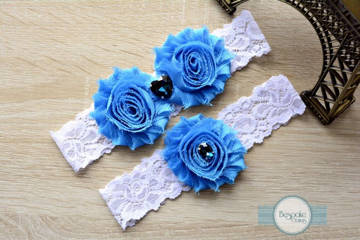 Blue Flower Garter, Flower Garter, Garter Set, Wedding Garter, Lace Garter, Wedding Garter Set, Wedding, Crystal Garter, Wedding Garters by BespokeGarters on Etsy