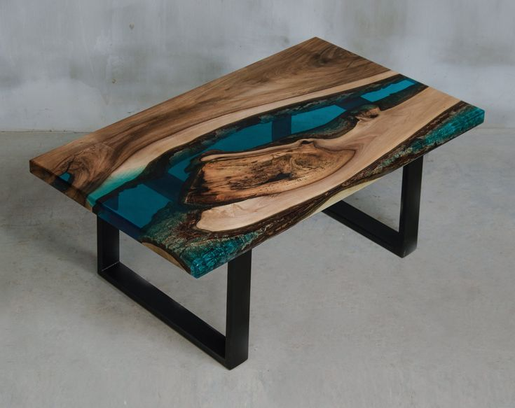 Custom live edge coffee table made with walnut, blue uv resin table, one of the kind epoxy table matches to modern home and boutique hotel