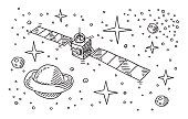 Satellite Space Stars Planet Drawing
