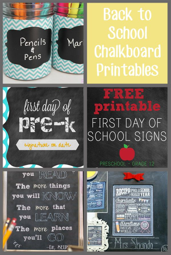 FREE!! Back to School Chalkboard Printables