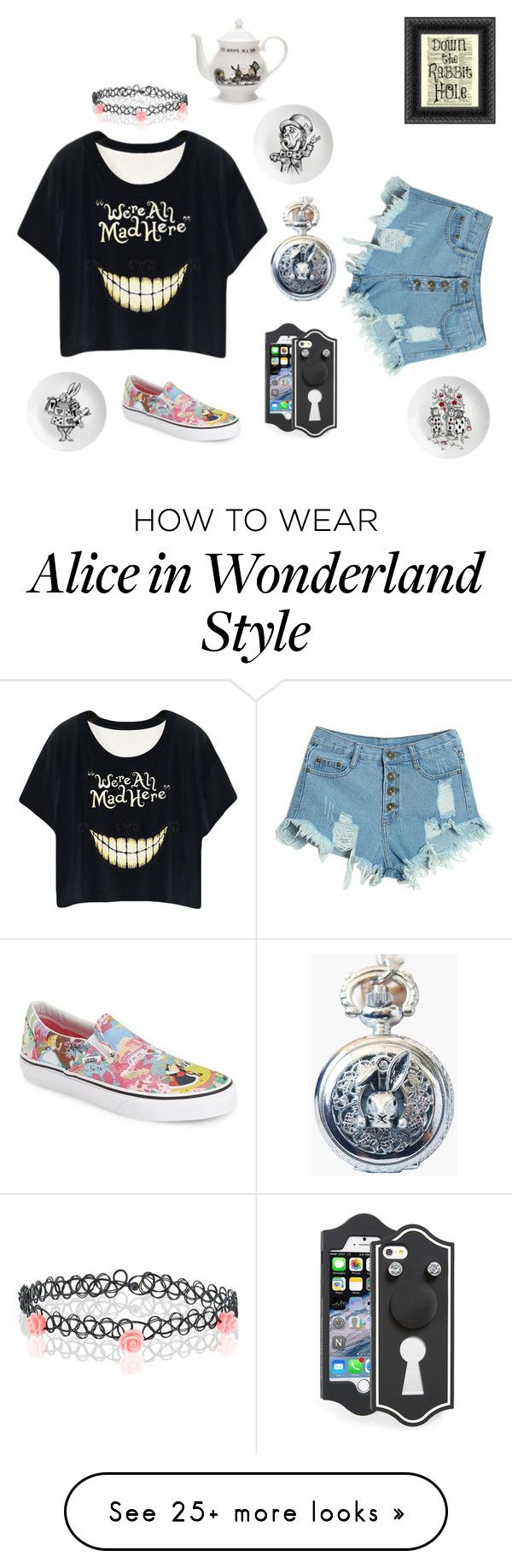 """Alice in Wonderland"" by lissadzen on Polyvore featuring Monsoon, WithChic, Marc by Marc Jacobs, Eleanor Stuart, Vans, Mrs Moore's Vintage Store, women's clothing, women, female and woman"