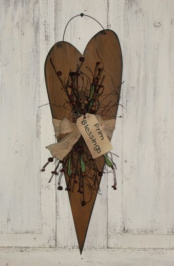 Primitive Wood Hanging Heart with Primitive Twigs Berries and Tea-stained Tie