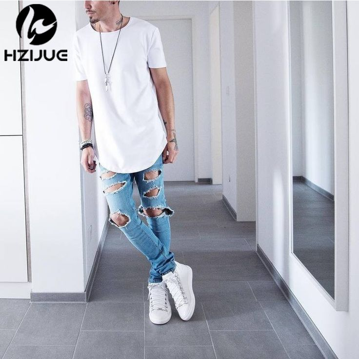 Curved Hem Hip Hop T-shirt Men Urban Kpop Extended T shirt Plain Longline Mens Tee Shirts Male Clothes Justin Bieber Kanye