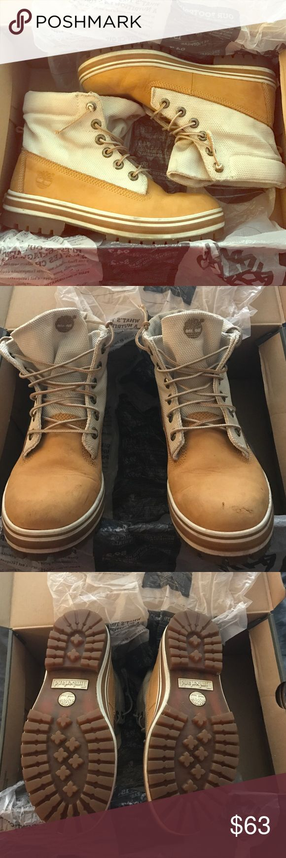 Size 6 Timberland boots! GREAT DEAL Size 6 Ladies!! Timberland boots! I've been hanging on to these but recently bought a new pair! I've kept them stored in the original box  They have a canvas top and original leather sole, I've kept them very clean there is no wear on the bottom at all! Timberland Shoes Winter & Rain Boots