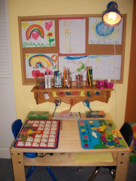 art center with items accessible to preschoolers