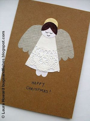 DIY:: How To: Vintage Angel Christmas Card but wouldn't it be cute on a package?