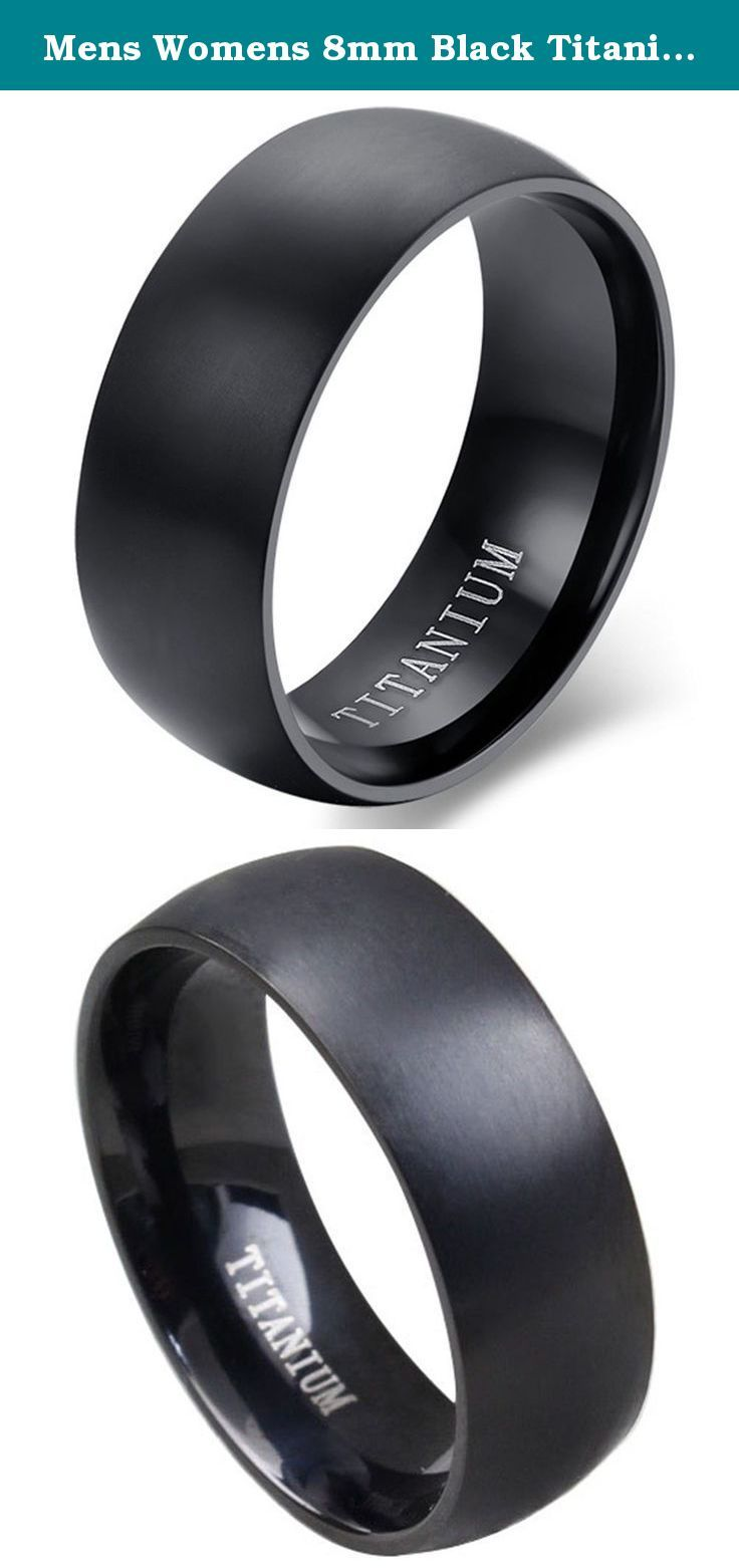 Mens Womens 8mm Black Titanium Dome Wedding Ring Vintage Engagement Promise Band Matte Finish Comfit Fit. Titanium is one of the most suitable material as jewelry. Wearing it could exudes people's attractiveness, and cool luster definitely let you charm doubled. Titanium Steel is not allergic, hard deformation, never fade. German design community has let it replaced platinum as a characterization of tokens and a symbol of unchanging love. The maintenance is very simple, If its surface has...