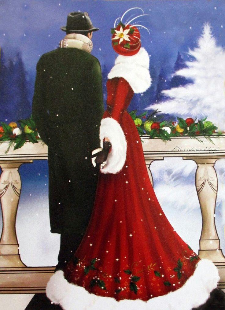 merry christmas christmas ladies art deco style art. Black Bedroom Furniture Sets. Home Design Ideas