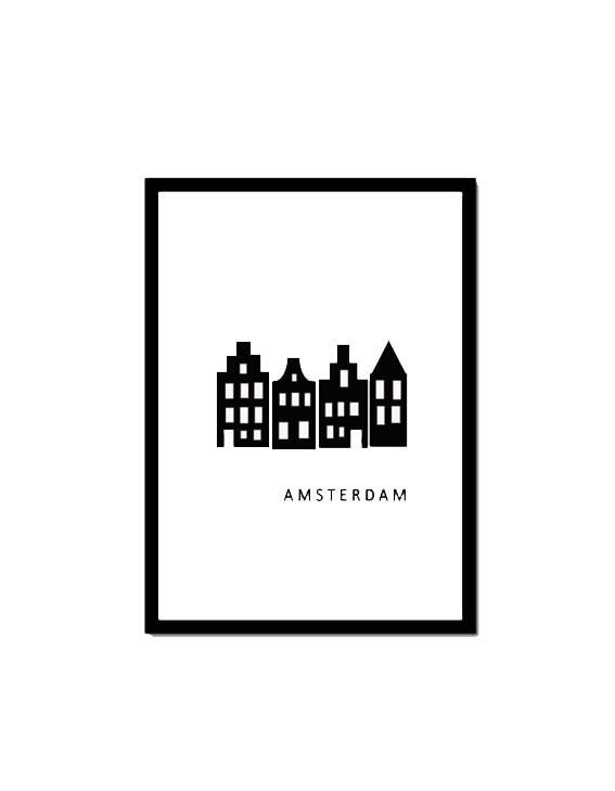 Poster Amsterdam canal houses
