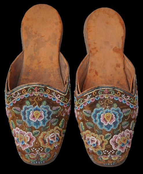 Glass Beaded Groom's Slippers (Kasut Manek) Straits Chinese Community, Singapore, Malacca or Penang circa 1890