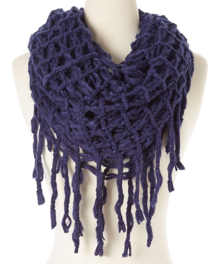 Knitting Loom Scarf Fringe : Steve Madden Navy Loose-Knit Fringe Infinity Scarf Knots, Fringes and Infin...