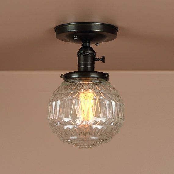 Semi Flush Lighting w/ Clear Faceted Glass by BlueMoonLights