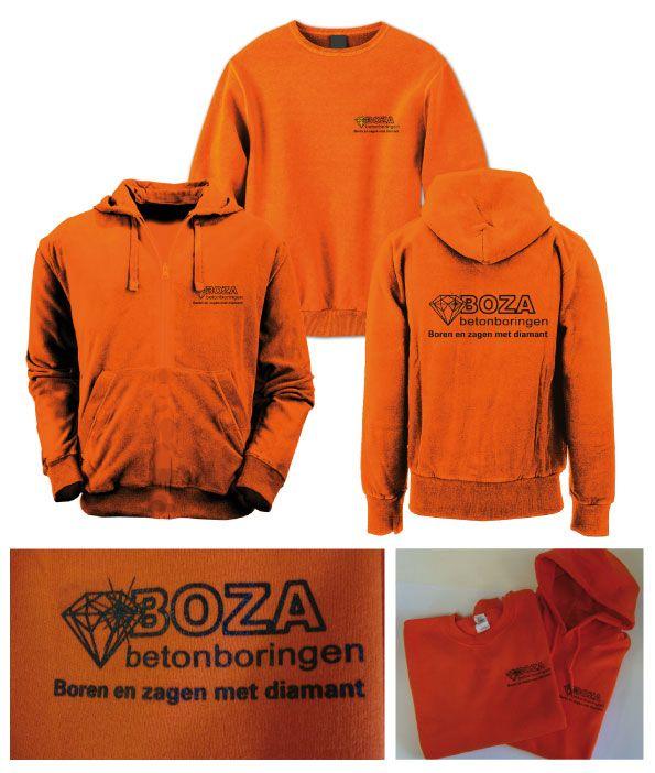 Boza Betonboringen heeft gezeefdrukte oranje truien. Door de felle kleur van de trui valt het al lekker op dus daarom een rustig logo er op.