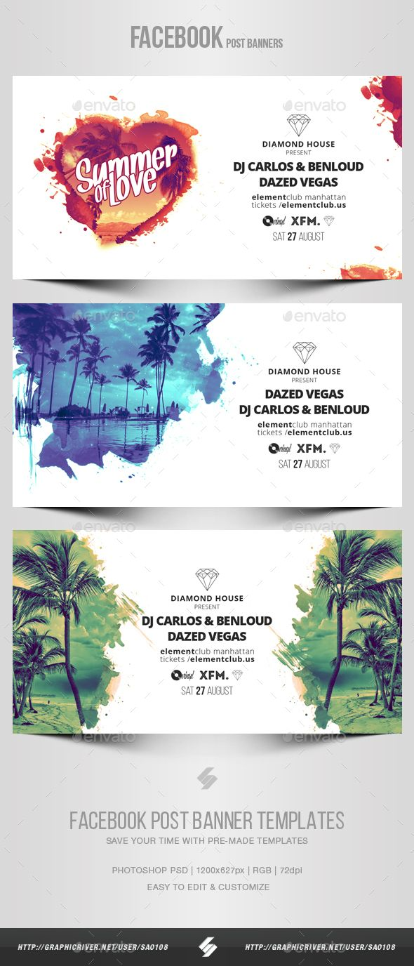 Electronic Music Party vol.16  Facebook Post Banner Templates — Photoshop PSD #creative #techno • Download ➝ https://graphicriver.net/item/electronic-music-party-vol16-facebook-post-banner-templates/19524404?ref=pxcr