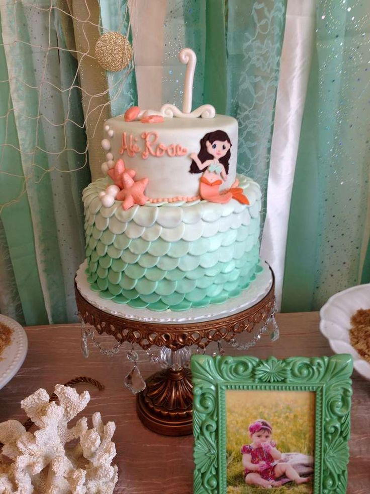 Here's a gorgeous under the sea little mermaid cake at a girl birthday! See more party ideas at CatchMyParty.com.
