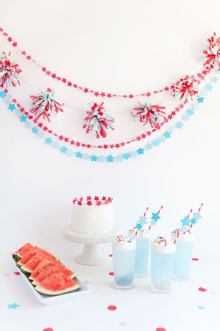 4th-of-july-party-ideas...garland - love...cake - love....straws - love....link thru for tutorials...