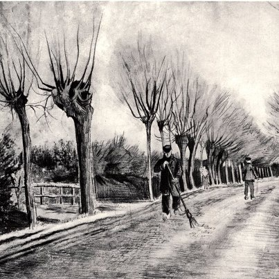 V. van Gogh, Road with Pollard Willows and Man with Broom(1881)