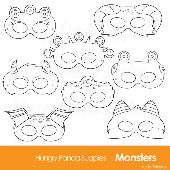 Monster Printable Coloring Masks, halloween masks, monsters, monster costume, monster party, halloween party, printable masks