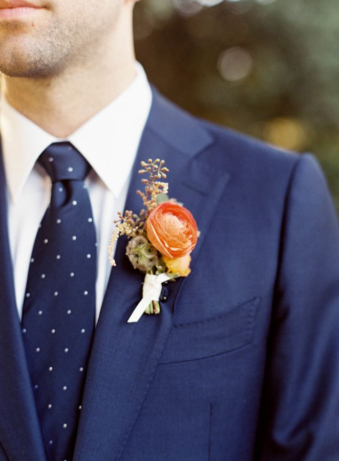 Navy blue polka dot tie: http://www.stylemepretty.com/california-weddings/mountain-view/2016/01/08/intimate-romantic-outdoor-summer-wedding/ | Photography: Meghan Mehan - http://meghanmehan.com/