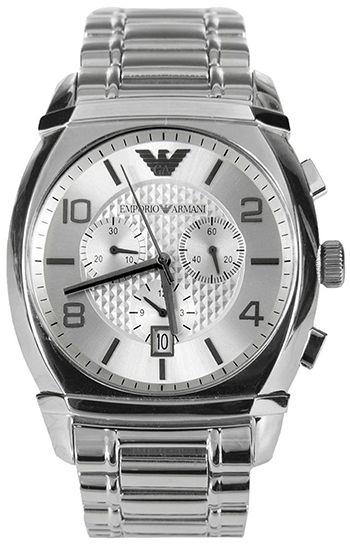 Montre Armani AR0350 Homme - Quartz - Chronographe - Cadran et Bracelet en Acier Argent - Date - Etanche 5 bar
