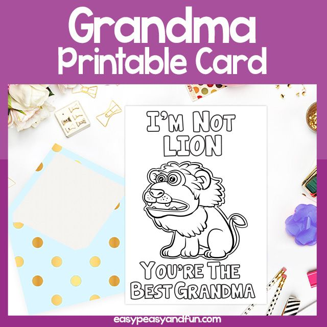 The Best Grandma Lion Card Grandparents Day Grandparents Day Cards Grandparents Day Coloring For Kids