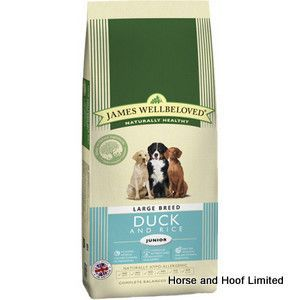 James Wellbeloved Duck Rice Large Breed Junior Dog Food 4kg James Wellbeloved Duck Rice Large Breed Junior Dog Food is a naturally hypoallergenic mixture that is suited towards large, young dogs that are in their last stages of growth.
