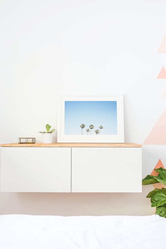 Of course no room makeover is truly completely until it involves a good Ikea hack, and this DIY Ikea hack floating credenza was the perfect fit!