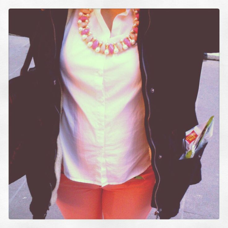 Coral woman bottom,Pearl necklaces and White shirt