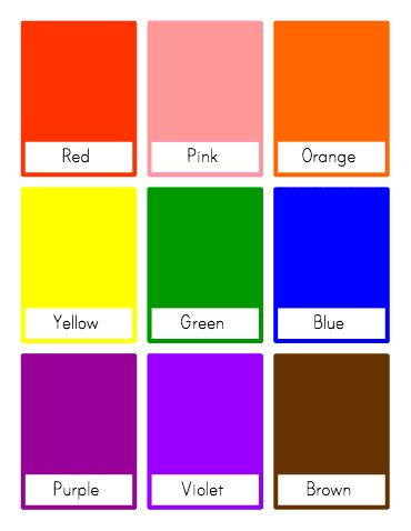 Wild image within printable color flashcards for toddlers