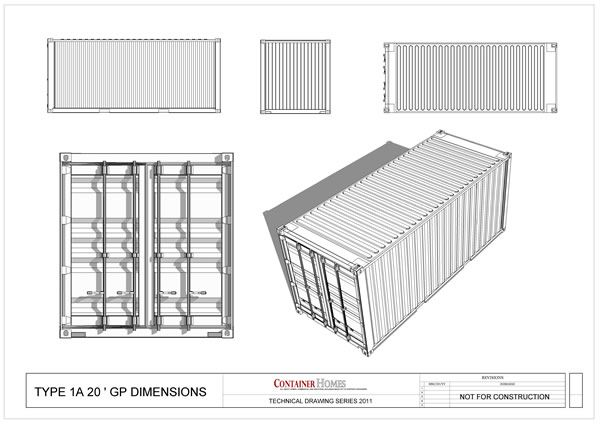 shipping container plans   Free Shipping Container Technical Drawing Package - Shipping Container ...