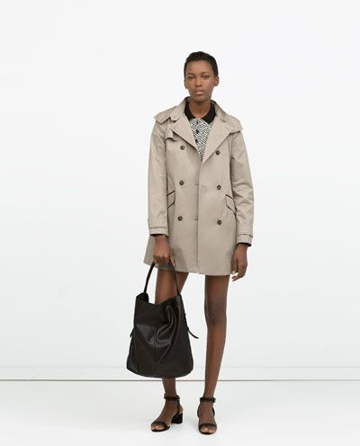 HOODED COTTON TRENCHCOAT-Trench Coats-Coats-WOMAN | ZARA United Kingdom