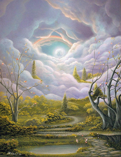 An Epic Tale) Fantasy Fairytale Acrylic Landscape Painting By Philippe Fernandez.