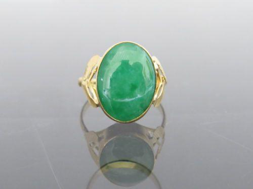 Vintage-14K-Solid-YG-Oval-cut-Natural-Apple-Green-Jadeite-Jade-Leaf-Ring-Size-8