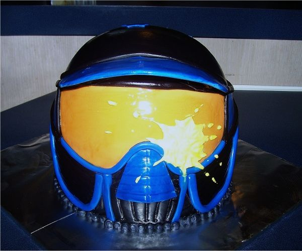 paintball helmet cake! A must have for Chan's B-day party