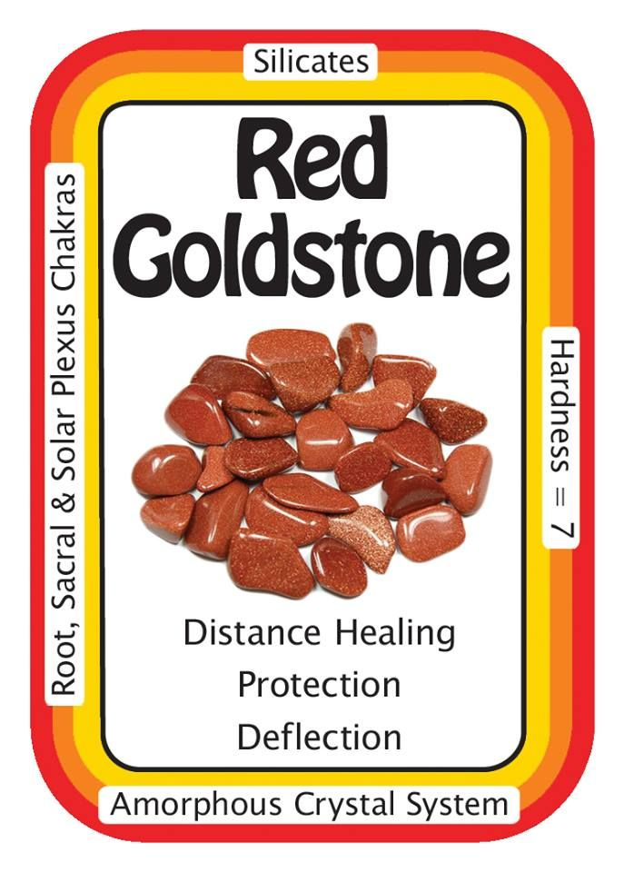 "Red Goldstone, ""I sparkle like the Universe, and absorb only positive energies.""  Goldstone, is a good deflector of unwanted energies, and is highly regarded in the spirit realm as a protection mineral.   Use the code HCPIN10 to receive 10% off your order   Red Goldstone: http://www.healingcrystals.com/advanced_search_result.php?dropdown=Search+Products...&keywords=red+goldstone  Crystal Cards: http://www.healingcrystals.com/Crystal_Information_Cards___Oracle_Decks_1__2_and_3.html"